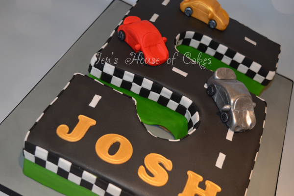 Number 5 Racetrack Cake